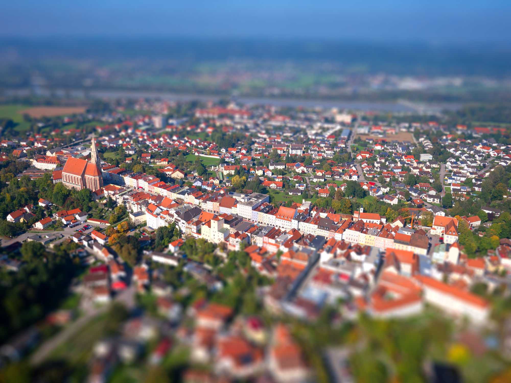 Luftbild Neuöttings mit Tilt-Shift Effekt