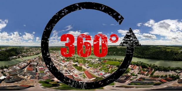 360° Luftpanorama von Wasserburg am Inn