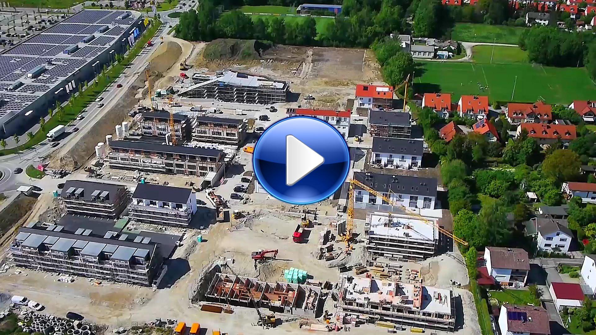 """Luftaufnahmen Baugebiet """"Am Erdbeerfeld"""" in Erding bei München"""