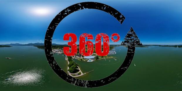 360° Luftpanorama von Prien am Chiemsee